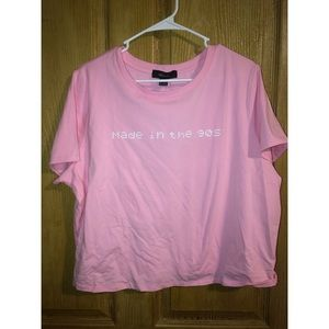 Pink Forever 21+ crop tee NWT